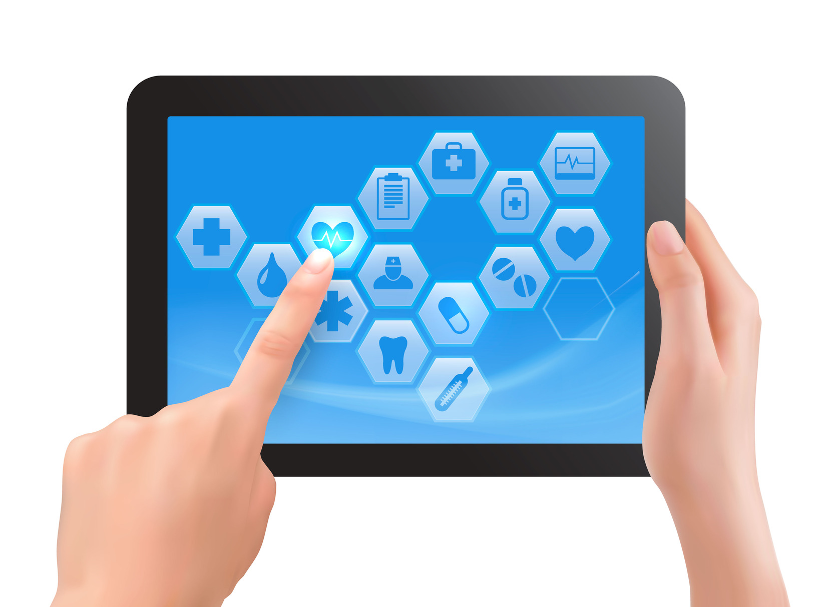 Two hands touch screen of tablet with medical icons. Vector